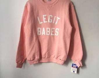 Legit Babes X Russell Athletic Crewneck Sweatshirt Adult Size M Deadstock NWT 90s Made in USA