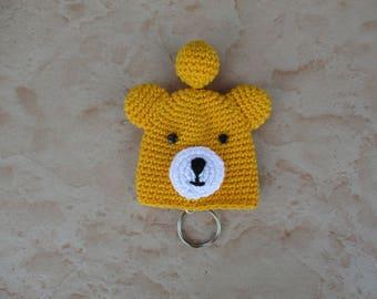Yellow bear Keychain crochet