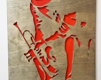 Wall hang Wood art Jazz player