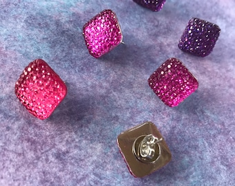Retro Babe Sparkle Earrings // Square Pinup Studs // Purple & Purple Dapper Day Jewelry // Ready to Ship // Bridal Party Gifts