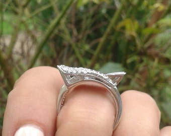 Cat Ring, Cat Jewelry, Unique Silver Jewelry, Cat Ears Ring, Silver Thumb Ring, Sterling Silver Cat Ring, Large Silver Ring, Most Sold Rings