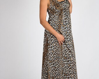 Vintage Leopard Lingerie Nighie Gown