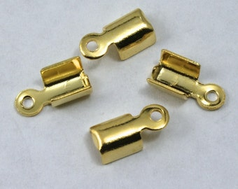 4mm x 6mm Fold-Over Gold Tone Cord Crimp with Loop #MFE019