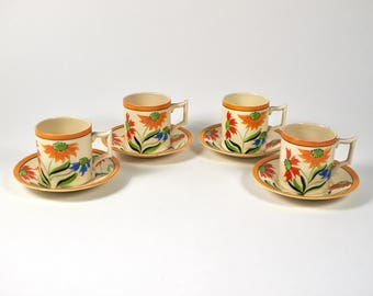 4 1930s Art Deco James Kent, Fenton pottery coffee cups and saucers