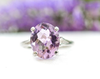 Natural Pink Amethyst Oval Cut Ring in 925 Sterling Silver *Free Worldwide Shipping*