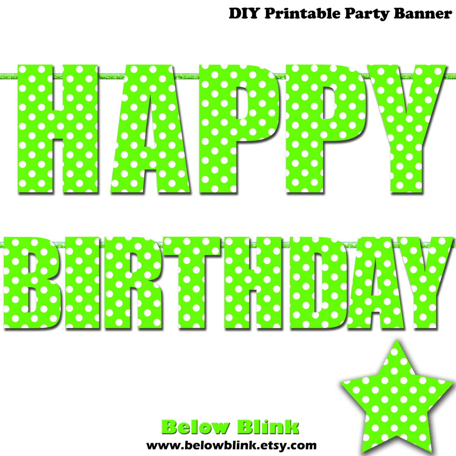 Unique Lime Green Happy Birthday Letter Banner Lime Green Polka FH09