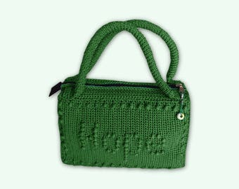 Crochet satchel, green cotton, with peanuts, Hope, Top Box