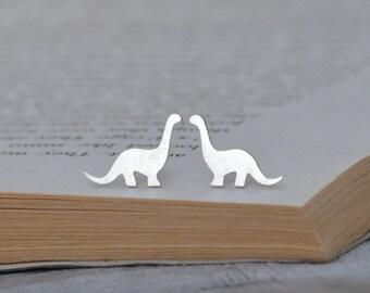 Dinosaur Earring Studs In Sterling Silver, Brontosaurus Earring Studs, Handmade In The UK