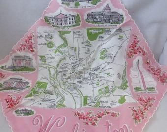 Vintage Mid Century Cotton Souvenir Handkerchief Washington D.C. Unused