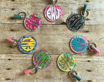 Lilly Monogram Keychains with Tassels, Monogram Keychains, Custom Peronalized Keychains
