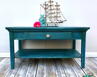 Beachy Coastal Coffee Table Blues And Greens With Compass Nautical Top   Beach House Lake House