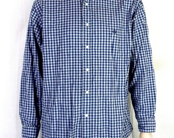 vtg 90s Brooks Brothers Madison Blue Gray Gingham Flannel Button Down Shirt sz L