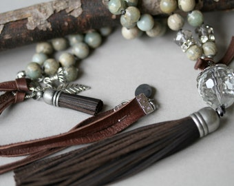 Baby Blue and Tan Tassel Necklace,  Chocolate BrownTassel, Bohemian Necklace, Knotted Leather Corded Necklace