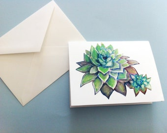 Watercolor Card - Hen and Chick Succulent
