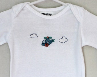 Helicopter cross-stitch on long sleeve onesie // 3 months