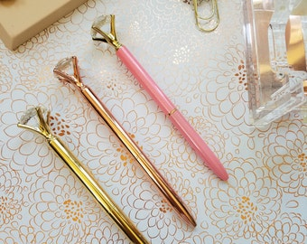 Oversize Diamond Jewel Metal Pens- GIFT BOX option available Metallic Finish