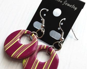 Stripes - handmade polymer clay earrings