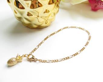 Gold Pineapple Bracelet, Delicate Everyday Bracelet, Stacking Bracelet, Minimalist Bracelet, Dainty Bracelet