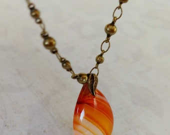 Banded Teardrop Red Agate Gemstone Necklace on Antiqued Gold-Plated Brass Ball Link Chain