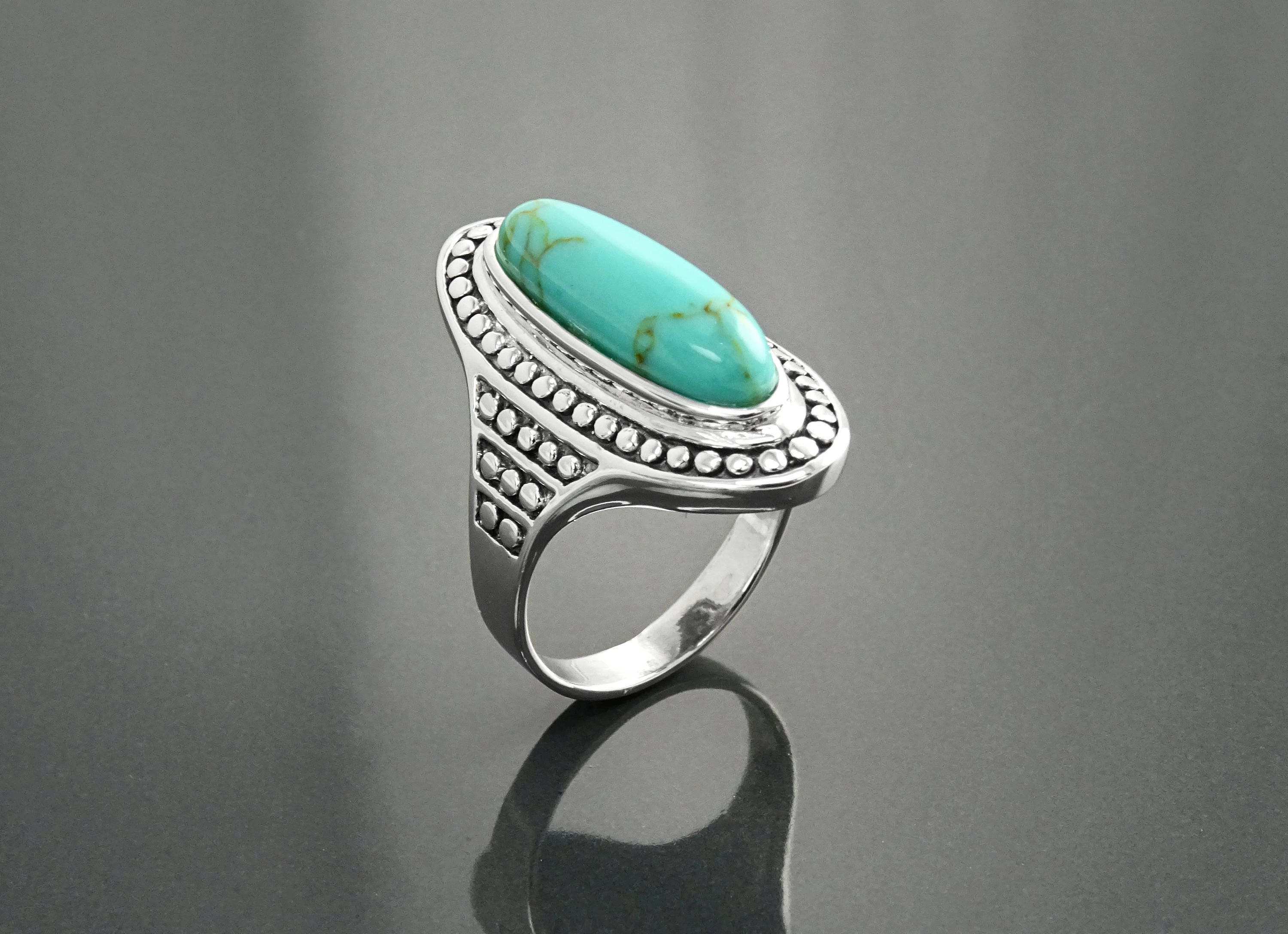 company stunning sterling stone p copper plain blue e made rings silver turquoise