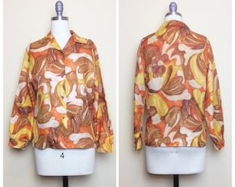 60s Orange Yellow and Brown Acetate Blouse / 1960s / Sixties / Vintage Abstract Print Button Up Top / Medium