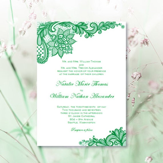 Vintage Lace Wedding Invitations Emerald Green Irish Printable