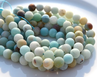 Frosted 8mm Amazonite Rounds Full STrand