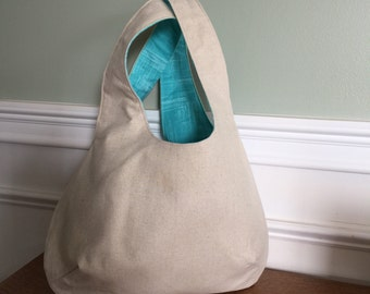 Reversible Sling Style Bag, Summer Bag - Beige Aqua Linen Cotton Designer Fabrics, Market Bag, Tote Bag, Diaper Bag, Baby Bag,  Eco Friendly