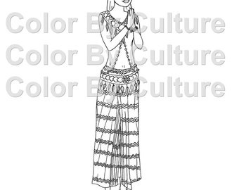 Fashion coloring book african inspired fashions to color for African culture coloring pages