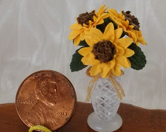 Miniature 1:12 scale spring summer sunflower arrangement miniature dollhouse by Mable Malley
