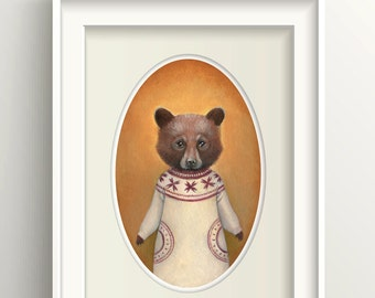 "Bear Art, Bear Cub Painting, Bear Print, Forest Animal Art Print, ""Abigail"""
