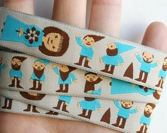 Snow White and Seven Dwarfs - 1 YARD -  Rosa Pomar Ribbon - Imported Turquoise Blue Ribbon