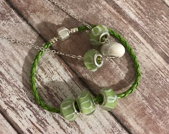 Necklace Bracelet Set, Jewelry Set, Green Jewelry, Silver Necklace, Beaded Jewelry, Birthday Gift, Green White Jewelry, Green Bracelet