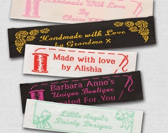 """25 Personalized Sewing Labels - 1"""" Wide, 100% Woven!"""