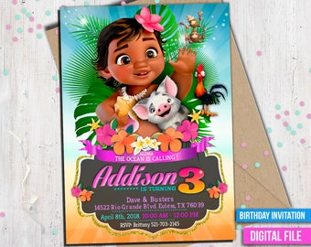 Baby Moana Invitation, Moana Invitation, baby Moana, Moana summer invitation, Moana summer party, Moana Party Invite, to Any age. M045