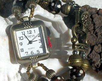 Antique Brass Watch, Bone Beads Jewelry W003
