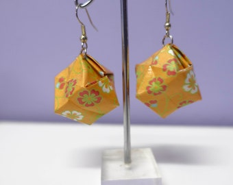 SALE Origami Box Earrings - Orange