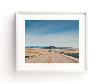 """landscape photography, landscape print, large art, large wall art, mountains, highway, travel, sky, clouds, road - """"Rocky Mountain Highway"""""""
