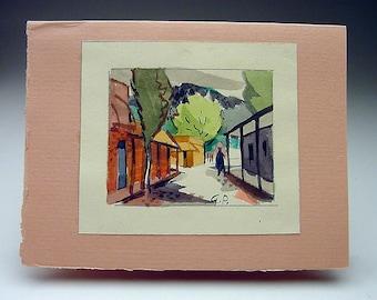 Listed California Artist George Booth Post (1906-1997) original watercolor 1964 Christmas card Town Village