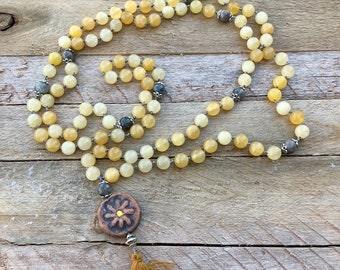 Kiln-Fired Daisy Diffuser Mala. Hand Knotted. Meditation. Calcite-Deepen Knowledge. Labradorite-Stone of Transformation.Aromatherapy.