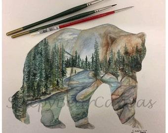 Yosemite River Bear Digital Print
