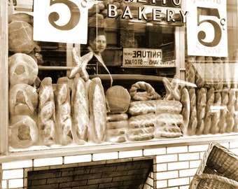"1937 Bakery Store Window, New York City Vintage Photograph 8.5"" x 11"" Reprint"