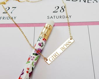 Girl Boss Bar Necklace, Planner Girl Necklace, Custom Name Bar Necklace, 14k Gold & 14k Rose Gold Fill or Sterling Silver PaperPotpourriCo