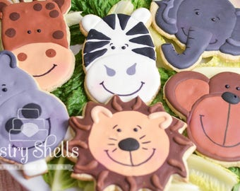 Zoo Animal Sugar Cookies, 1 Dozen, Wild Life Sugar Cookies, First Birthday Cookies, Kid Party Favors, Lion Hippo Elephant Monkey Giraffe