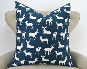 Navy Deer Pillow Cover, Euro Sham, Cushion Cover, Navy Blue and White Decor, Throw Pillow -MANY SIZES- Deer Silhouette by Premier Prints