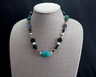 Mixed Gemstone and Freshwater Pearl Necklace