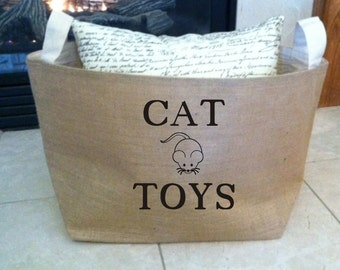 personalized  lined burlap cat toy basket , burlap storage tote