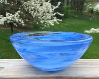 Kosta Boda Blue Glass Bowl / Kosta Boda Glass / Kosta Boda Large Bowl