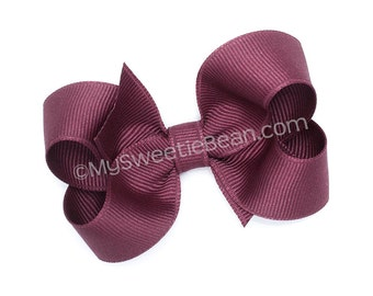 Plum Hair Bow, 3 Inch Boutique Bow, Grosgrain Bow for Baby, Toddler Hair Bow, Girls Hair Bow, Melanzana, Eggplant, Aubergine Solid Color Bow
