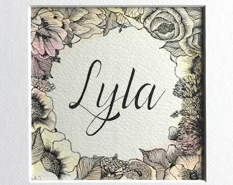 NAME- hand drawn illustration great gift idea!
